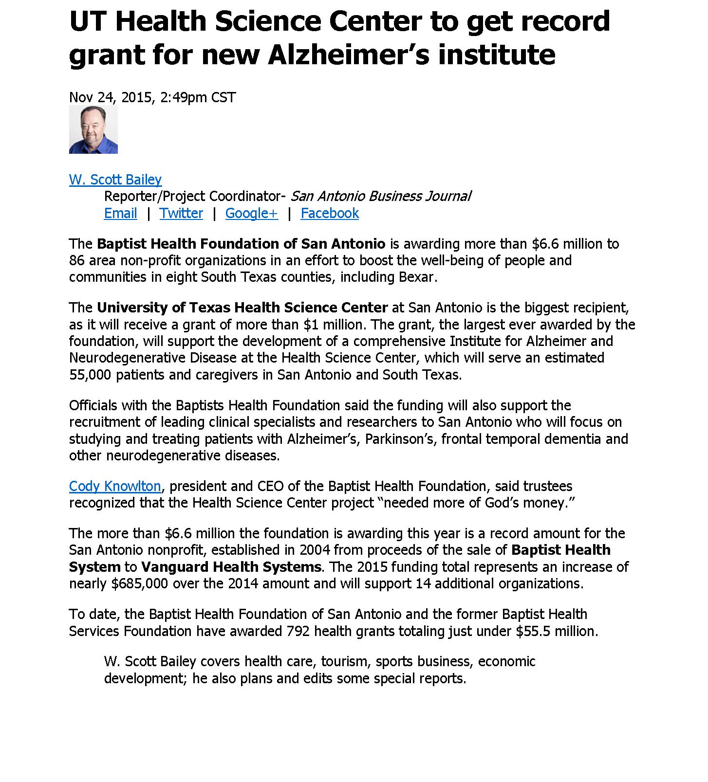 SABJ-UTHSCSA Alzheimers Institute