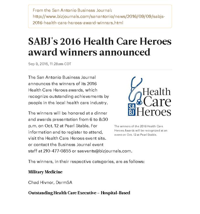 Sabj S 2016 Health Care Heroes Award Winners Announced Baptist