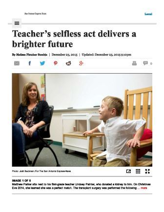 Teacher's selfless act delivers a brighter future - San Antonio Express-News